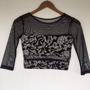 Sparkle & Fade UO Sheer Floral Crop Top XS R7
